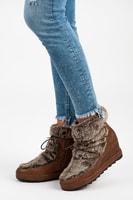 Boty s kožešinkou na klínu hnědé