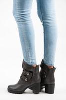 Vysoké boty na suchý zip šedé