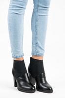 Nazouvací boty na podpatku černé