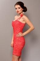 Dámské pouzdrové šaty na jedno rameno růžové