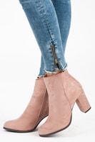 Stylové podzimní boty na sloupku růžové
