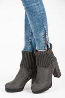 Tmavě šedé podzimní shrnovací boty