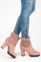Růžové podzimní shrnovací boty
