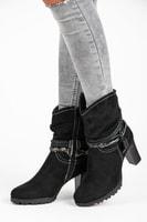 Vysoké semišové boty černé