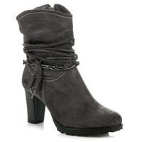 Vysoké semišové boty šedé