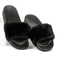 Černé nazouváky s kožešinkou