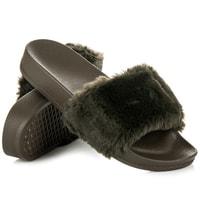 Dámské domácí pantofle s kožešinkou khaki
