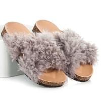 Dámské domácí pantofle s kožešinkou šedé