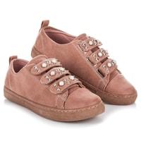 Semišové tenisky na suchý zip růžové