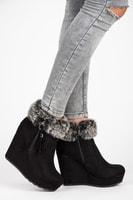 Semišové boty na platformě černé