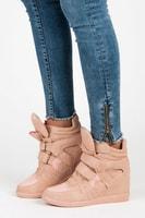 Sneakery na suchý zip růžové