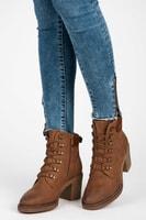 Kotníkové boty s tkaničkami tmavě hnědé