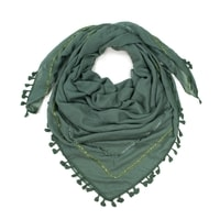 Zelený šátek s třásněmi
