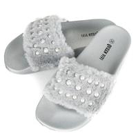 Šedé dámské módní pantofle s kožíškem a perličkami