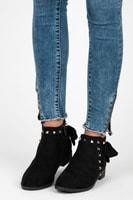 Semišové boty se cvoky černé