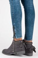Semišové boty se cvoky šedé