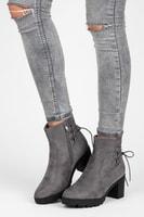 Semišové boty na platformě šedé