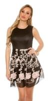Dámské společenské šaty se vzorovanou sukní
