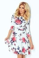 Dámské podzimní šaty s květinovým potiskem
