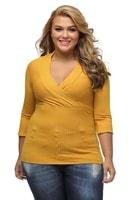 Dámské tričko do V - žluté