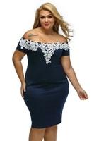 Společenské dámské šaty modré s bílou krajkou