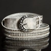 Dámský šedý pásek s kamínky