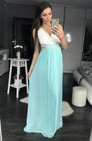 Dámské dlouhé šaty s průstřihy modré