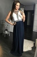 Dámské dlouhé dvoubarevné šaty tmavě modré