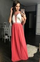 Dámské dlouhé dvoubarevné šaty růžové