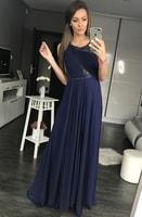 Dlouhé plesové šaty s krajkovou vsadkou modré