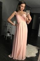 Antické dlouhé šaty světle růžové