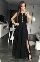 Dlouhé šaty se šněrováním černé