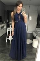 Dlouhé šaty se šněrováním tmavě modré