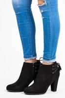 Semišové kotníkové boty na sloupku
