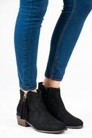Semišové kotníkové boty s třásněmi černé