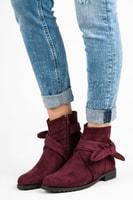 Semišové boty na zip vínové
