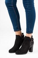 Semišové kotníkové boty s brokátem černé
