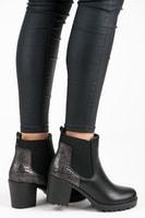 Kotníkové boty na podpatku černé