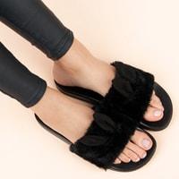 Černé domácí pantofle s oušky