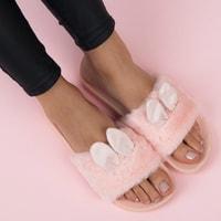 Růžové domácí pantofle s oušky
