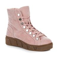 Růžové kotníkové boty na platformě se šněrováním