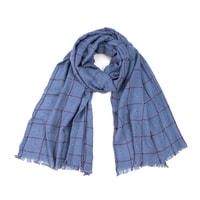 Modrý pánský kostkovaný šál