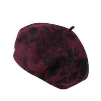 Vínový vlněný baret se vzorem