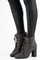 Elegantní kontíkové boty se šněrováním šedé