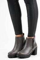Kotníkové boty na zip šedé