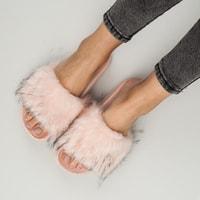 Růžové domácí pantofle fluffy