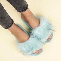 Modré domácí pantofle s kožíškem