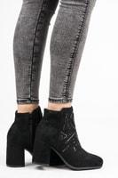 Stylové semišové kotníkové boty černé