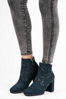 Stylové semišové kotníkové boty modré