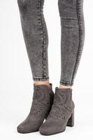 Stylové semišové kotníkové boty šedé